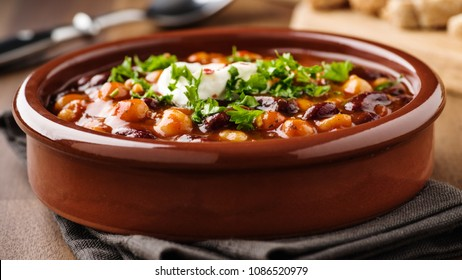 Hot stew with chick peas beans,  soy meat and chili peppers