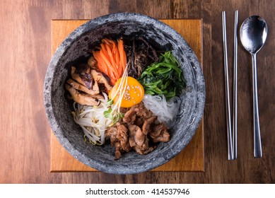 Hot stone bibimbap, Korean traditional, Korean food