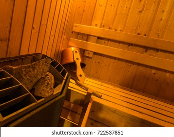 Hot stone on heater in wooden Sauna spa room,healthy life style
