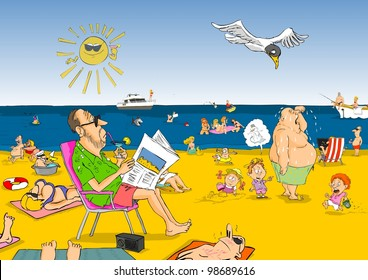 Hot summer day, people are resting on the beach