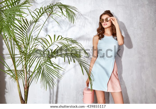 Hot summer girl beauty sexy lady wear fashion dress casual clothes party date time model woman luxury life style accessory bag jewelry bijou studio green palm shadow catalog collection pretty face