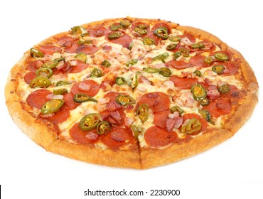 hot summer jalapeno pepper and meat pizza, macro close up isolated over white