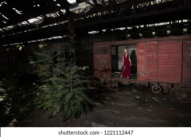Hot supermodel posing in the train wagon in the abandoned Red Star graveyard