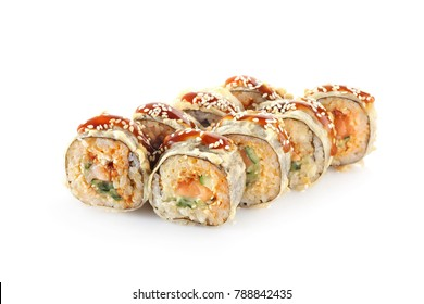 hot sushi roll on a white background isolated