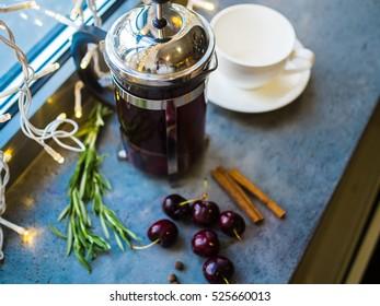 hot tea with cherry, wild mountain thyme and cinnamon