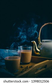 Hot tea in a dark and moody setting