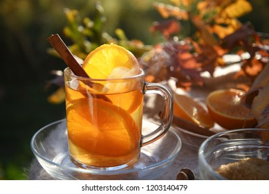 hot tea drink with orange slices and cinnamon in a glass cup in backlit in the autumn garden, selected focus, narrow depth of field