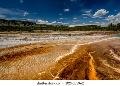 Hot thermal spring Black Opal Pool in Yellowstone National Park, Biscuit Basin area, Wyoming, USA