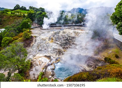 Hot thermal springs in Furnas village, Sao Miguel island, Azores, Portugal. Caldeira do Asmodeu