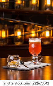 Hot toddy cocktail on the bar