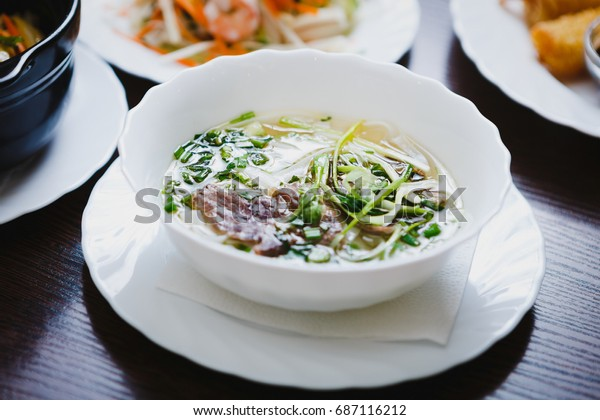 Hot Traditional Vietnamese Pho Bo Soup Stock Photo (Edit Now