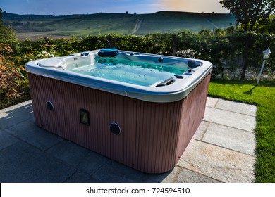 Hot tub with a view of Italian hills