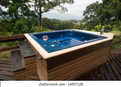 Hot tub with a view of the mountains