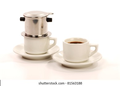 hot Vietnamese coffee cup and filter