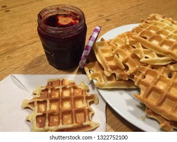 Hot wafles with jam.