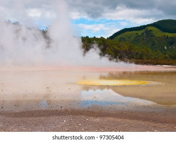 Hot water spring with many colors in rotorua new zealand