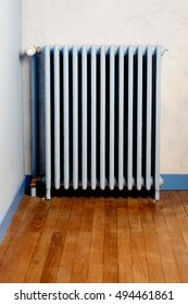 Hot water steam radiator heater in home