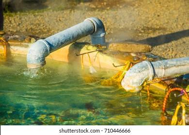 Hot water from underground at Sankamphaeng hot spring, Thailand.