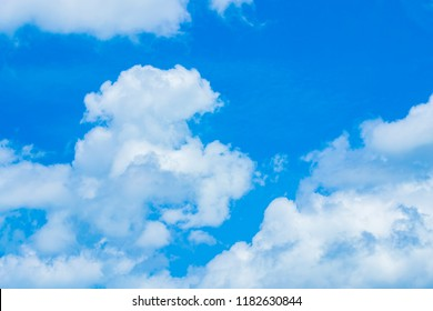Hot weather causes clusters of white clouds.