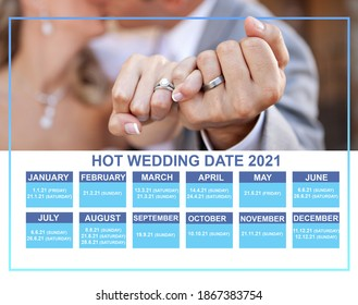 hot wedding date in 2021 for groom and bride wedding ceremony. this is calendar 2021 with interesting date and most selected date for wedding