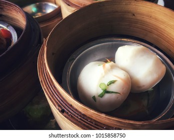Hot white fish balls after streaming on the table for breakfast in the morning or call dim sum food Chinese style.