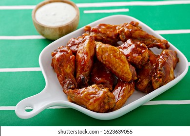 Hot wings glazed with honey, air fried or roasted, game day food