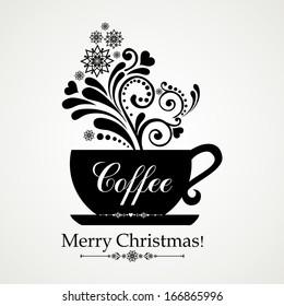 Hot winter coffee. Christmas menu design.  Illustration