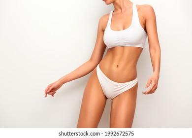 Heiße Frau Körper in weißer Dessous, latinische Schönheit