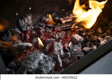 Hot wooden barbecue coals, fireplace.