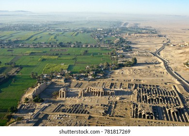 Hot-air ballooning over the Ramesseum, West Bank, Luxor, Egypt