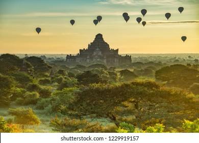 Hot-Air Balloons over the Pagoda at Old Bagan, Myanmar