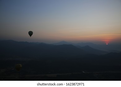 Hotairballoon in the sky on the sunrise at LAOS