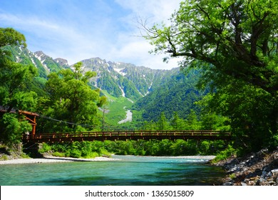 Hotaka mountain and Kappa bridge, Kamikochi, Nagano, Japan