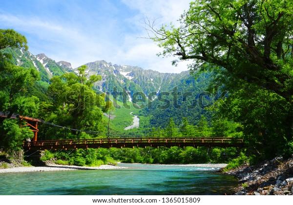 日本長野上高知保高山河童橋