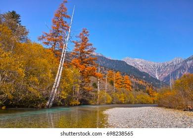 Hotaka mountains seen from Kamikochi in autumn