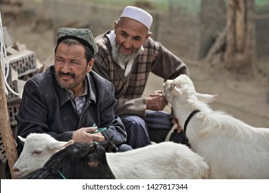 Hotan, China-October 4, 2017: Uyghurs are a Turkic people living mainly in the Xinjiang Uyghur Autonomous region. Couple of livestock handlers attend the Livestock Market with their fat-tailed sheeps.