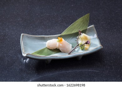 Hotate or sushi scallop the Japanese food menu on dish