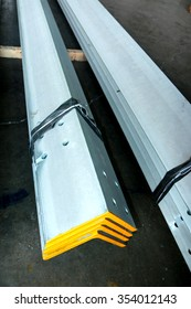 Hot-dip galvanized steel structure bunch on the rack in warehouse before shipment