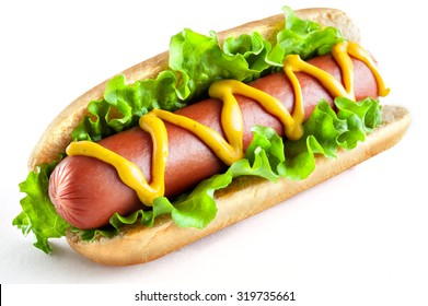 Hotdog with big sausage and fresh salad isolated on white