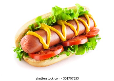 Hotdog with big sausage and fresh tomato isolated on white