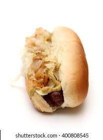 A hotdog on a white background