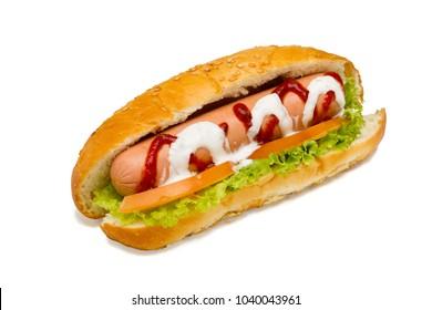 Hot-dog on white background, studio light