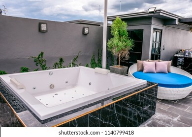 Hotei Hotel, Chiangmai, Thailand - June 2018 : Private guest house including Jacuzzi and hot tub with luxury design