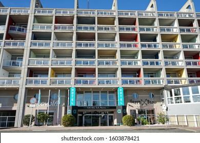 Hotel Alda Sada Marina, located on the beachfront, on the coast of Sada Sada (Coruna), Galicia, Spain 29/12/2019