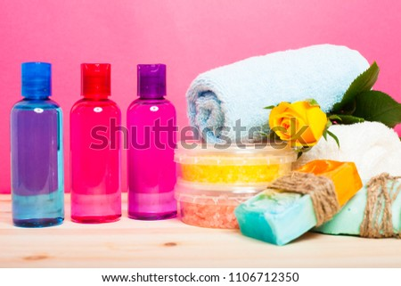hotel amenities kit set colorful white stock photo edit now