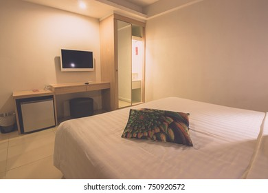 Hotel apartment, bedroom interior in the good night ,Interior of modern comfortable hotel room