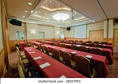 Hotel ballroom in classroom setting