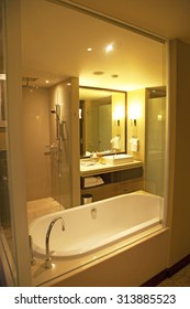 Hotel bathroom with amenities and shower