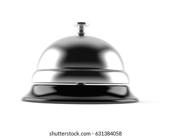 Hotel bell isolated on white background. 3d illustration