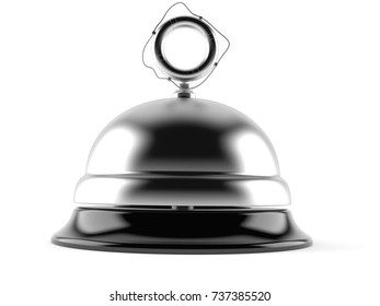Hotel bell with life buoy isolated on white background. 3d illustration